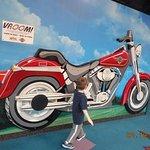 An interactive motorcycle exhibit.