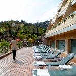 Sun loungers in pool area
