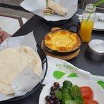 eggs, salad and pita