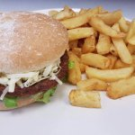 1/4 cheese burger with chips £3.30