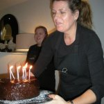 The Miola team bring out the gorgeous chocolate birthday cake