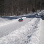 Snow tubing hill, walk up, slid down