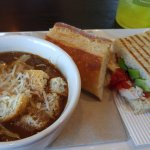 Chipotle chicken avocado panini and French onion soup