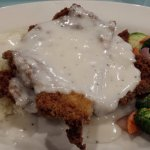 Chicken fried steak with veggies