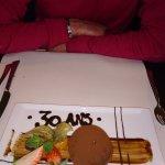 dôme de chocolat et poire, sablé breton au cacao... et dédicace pour les 30 ans de mon conjoint!