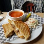 Pulled Pork Grilled Cheese and Tomato Soup