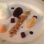 Goats cheese mousse with pecan praline, beetroot and poached pear