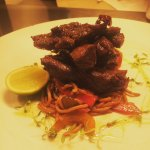 Sticky honey and chilli beef with stir fried noodles