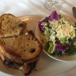 Grilled cheese/pork sandwich and side salad