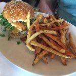 swordfish sandwich with sweet potato fries