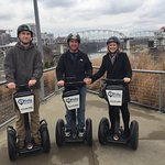 Patrick (tour guide) posing after our tour. Sirls family segwaying in downtown Nashville. Fun ti