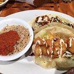 Combo bbq mango and breaded shrimp tacos