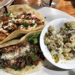 Carne asada steak and bbq mahi tacos
