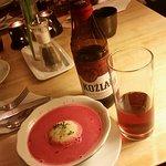 This is my favorite beetroot soup with mashed potato ball on the middle :D Nice one!