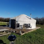 Yurt, BBQ, picnic bench, plus table and chairs