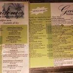 Menu van Gardenia Restaurant, Sanur, Bali.