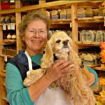 Owner Laura with Swamp Dog Katie. We are a dog-friendly shop!