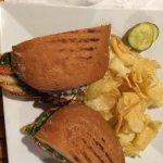 Loaded fries, bacon burger with portabella mushrooms, panini, and wrap.