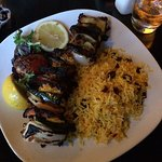 veggie kabob with cranberry Basmati rice