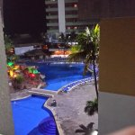night photo of one of the pools