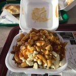 Poutine! Heart attack in a styrofoam container, Canadian style.