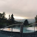 The outdoor spa overlooking Lake Zurich