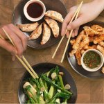 Sides to share with friends! Did you know the Japanese turn their chopsticks around when sharing