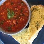 Minestrone with Pesto and garlic bread
