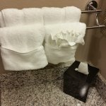 Some fancy towel and wash cloth folding. A nice decorative touch.