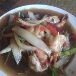 Gung pat prik – King prawns lightly cooked with Thai herbs