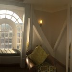 Panoramic photo of the living room in the Tower Suite.