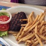 smallish burger with cooling fries