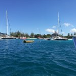 Catamarans arriving at the wrecks.
