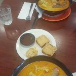 Chicken laksa and prawn toasts