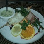 Brochette de poisson et son gratin de légumes
