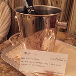 The staff had put a bottle of champaign in our room to welcome us and wish us a happy honeymoon