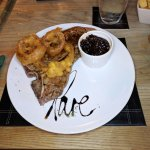 16oz Tbone with caramelised onions & onion rings.