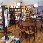 Octavo's is a full service book shop as well as a cafe and wine bar.