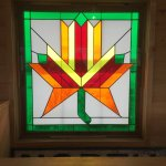 There are many beautiful stained glass windows through out the lodge