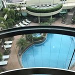 view of the pool area from the scenic elevator
