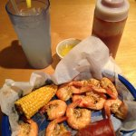 Low country boil at Whaley's - boiled shrimp, spicy corn, keilbasa.