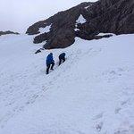 Treading the path back up the snow field (field! Ha!)