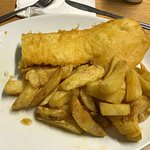 Lovely thick battered cod & chips, partly eaten!