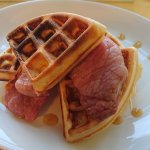 Bacon, syrup and homemade waffles