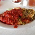 Carne Adovada Stuffed Sopaipilla, smothered,