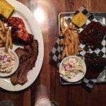 Our medium rib dinner (right) and combo platter (left)
