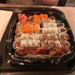 """The """"Amigo"""" plate: eel, california roll, shrimp tempura, tuna roll, JB roll, crunch roll"""