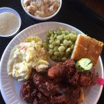 Hot chicken tenders, Lima beans, jalapeño corn bread, squash casserole, and bread pudding