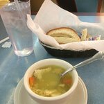 The bread is delicious! It has some kind of sweet cream cheese inside. Chicken rice soup was goo