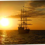 """The """"Pirate Ship"""" sunset cruise crossed our path..."""